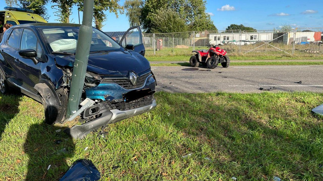 Quadrijder gewond na aanrijding met auto